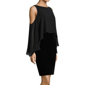 NWT Velvet Chiffon Cold Shoulder Cocktail Dress